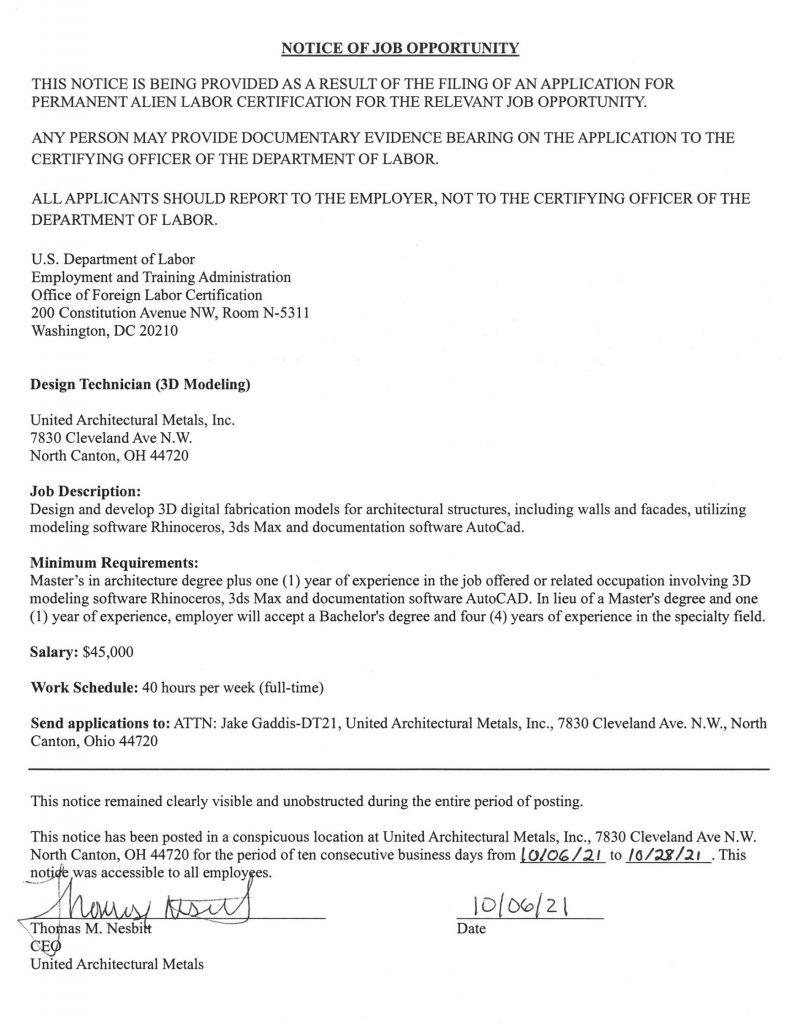 Notice of Job Opportunity 10.06.21